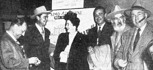 "At the world premiere of ""Albuquerque"" left to right are Bill Thomas, studio executive of Pine-Thomas Studios who produced the western for Paramount release; film co-stars Russell Hayden, Catherine Craig, Lon Chaney Jr., Gabby Hayes; and actor William Demarest who was not in the film but appeared at the premiere."