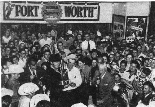 "Randolph Scott in Fort Worth, TX, in 1951 for the World Premiere of ""Fort Worth""."