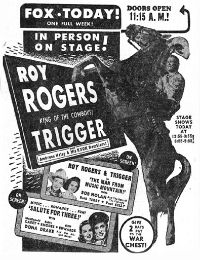 Roy Rogers and Trigger on stage at the Fox in Sweetwater, TX (near Abilene) in 1943.