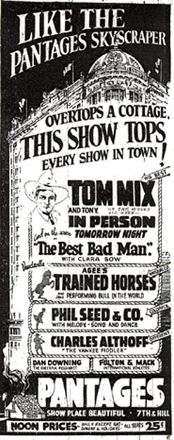 Tom Mix in person at the Pantages Theatre in Los Angeles, CA, March 8, 1926.