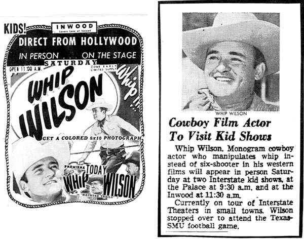 Whi[ Wilson in person at the Inwood Theatre, 1949.