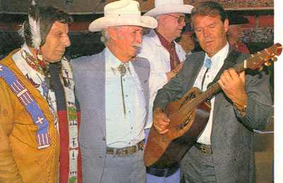 Iron Eyes Cody, Eddie Dean, Monte Hale and Glen Campbell at a Golden Boot Awards.