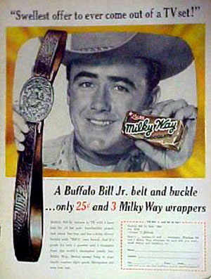 "Sure wish I had one of these. The belt, not the Milky Way. Dick Jones starred on ""Buffalo Bill Jr."" from '55 to '56. (Courtesy Ray Nielsen.)"