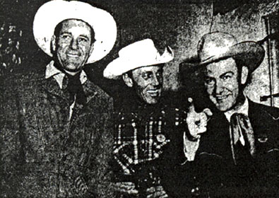 Valley Village, CA, honorary mayor Tex Williams (right) with pals Doye O'Dell (left) and Ken Curtis (center) (5/16/49).