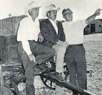 "(L-R) J. W. Eaves, western writer Max Evans and Santa Fe, NM, independent producer Fred Patton as they began work in June 1968 for the first western movie street on the Eaves Ranch near Santa Fe. Several TV series and movies had already been shot on the ranch before the townsite was constructed for ""Cheyenne Social Club"" ('69)."