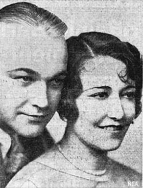 Newlyweds William Boyd and Dorothy Sebastian. 12/23/30 photo. The couple hopped a plane, flew to Las Vegas, hunted up a justice of the peace, were married, and quickly flew back to Hollywood as each had to be at the studio the following day.