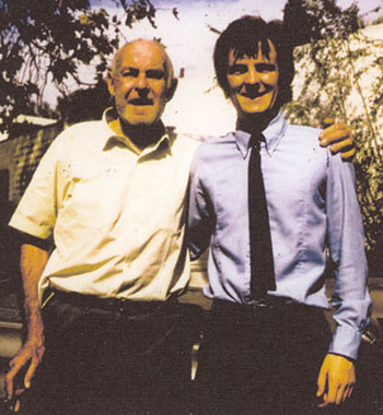 English B-western researcher and interviewer John Brooker (right) with Ken Maynard at Maynard's trailer park home in 1970. Read John's interviews with various western stars in every print issue of WESTERN CLIPPINGS.