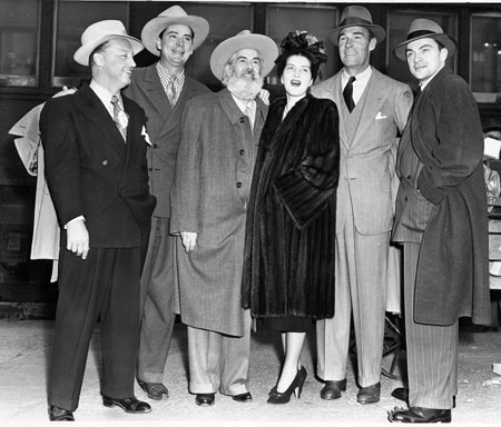 "(L-R) Producer Bill Thomas, stars Russell Hayden, Gabby Hayes, Catherine Craig, Randolph Scott and Larry Blake in San Francisco during a promotional tour for the Pine-Thomas production of ""Albuquerque"" ('48 Paramount). (Oddly, Larry Blake is not in the movie.)"