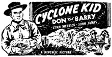 "Newspaper ad for ""Cyclone Kid"" starring Don Barry."