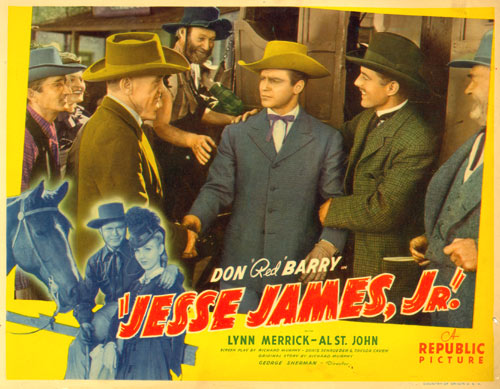 "Title card for ""Jesse James Jr."" starring Don Red Barry."