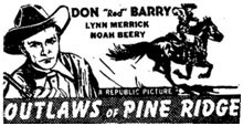 "Newspaper ad for ""Outlaws of Pine Ridge""."