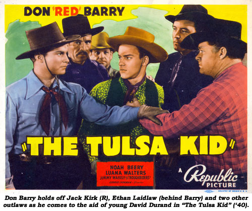 "Don Barry holds off Jack Kirk (R), Ethan Laidlaw (behind Barry) and two other outlaws as he comes tot he aid of young David Durand in ""The Tulsa Kid"" ('40)."