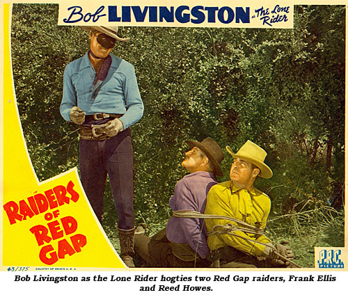 Bob Livingston as the Lone Rider hogties two Red Gap raiders, Frank Ellis and Reed Howes.