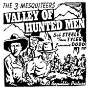 "Newspaper ad for ""Valley of Hunted Men""."