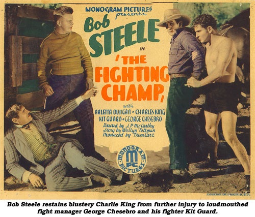Bob Steele restrains blustery Charlie King from further injury to loudmouthed fight manager George Chesebro and his fighter Kit Guard.