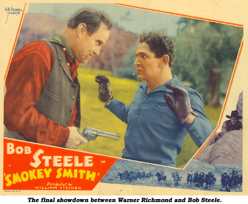 "The final showdown between Warner Richmond and Bob Steele in ""Smokey Smith""."