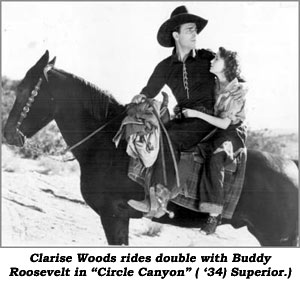 "Clarise Woods rides double with Buddy Roosevelt in ""Circle Canyon"" ('34) Superior."
