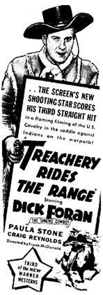 "Newspaper ad for ""Treachery Rides the Range"" starring Dick Foran."
