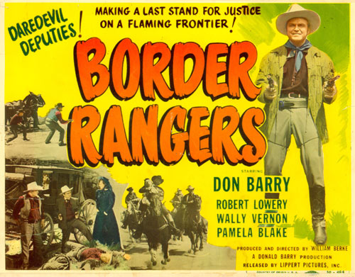 "Title card for ""Border Rangers"" starring Don Barry."