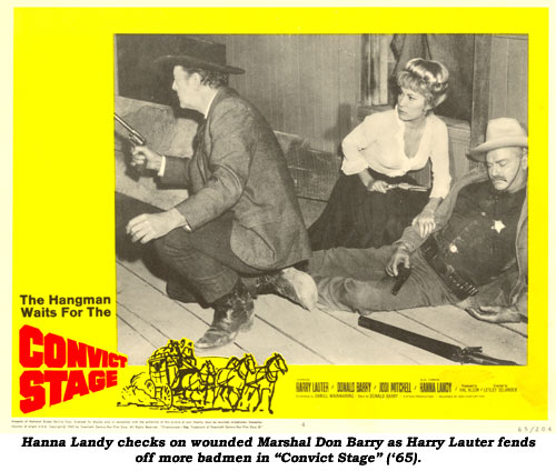"Hanna Landy checks on wounded Marshal Don Barry as Harry Lauter fends off more badmen in ""Convict Stage"" ('65)."