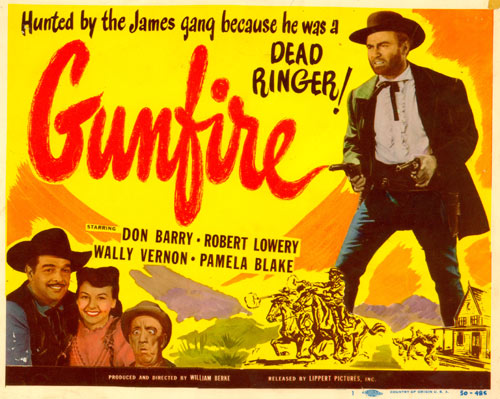 "Title Card for ""Gunfire"" starring Don Barry."
