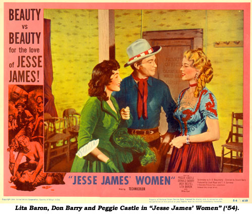 "Lita Baron, Don Barry and Peggie Castle in ""Jesse James' Women"" ('54)."