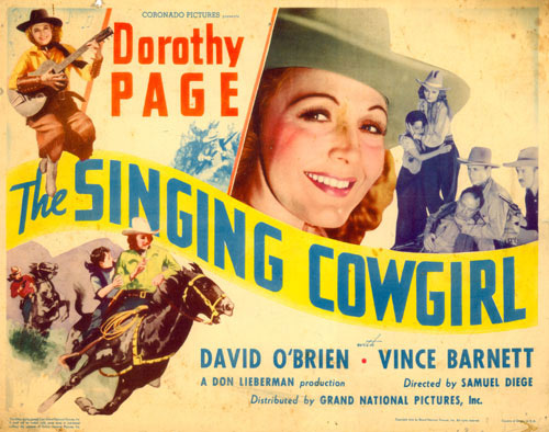 "Title card to ""The Singing Cowgirl"" starring Dorothy Page."