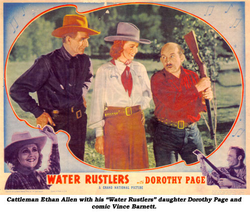 "Cattleman Ethan Allen with is ""Water Rustlers"" daughter Dorothy Page and comic Vince Barnett."