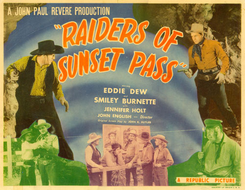 "Title card for ""Raiders of Sunset Pass"" starring Eddie Dew."
