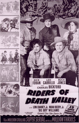 "Newspaper ad for ""Riders of Death Valley"" 15 chapter serial."