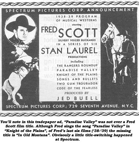Spectrum Pictures Corp. announcement: 1938-'39 program of musical westerns starring Fred Scott