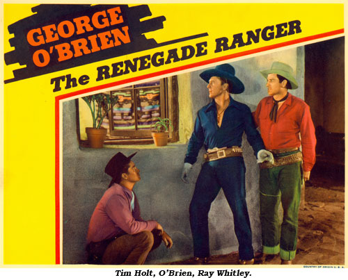 "Tim Holt, O'Brien and Ray Whitley listen outside a window in ""The Renegade Ranger""."