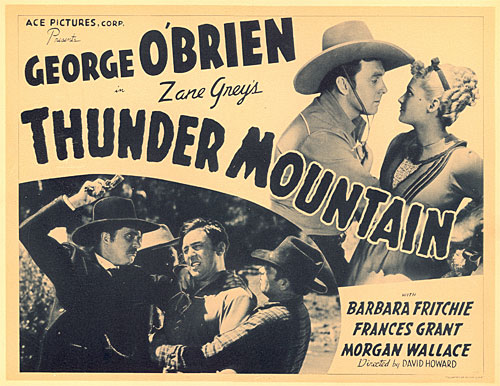 "Title card for ""Thunder Mountain"" starring George O'Brien."