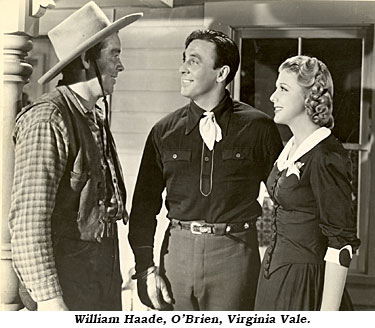 "William Haade, O'Brien and Virginia Vale in ""Stage to Chino"" ('40 RKO)."
