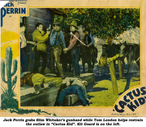 "Jack Perrin grabs Slim Whitaker's gunhand while Tom London helps restrain the outlaw in ""Cactus Kid"". Kit Guard is on the left."