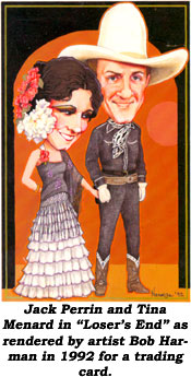 "Jack Perrin and Tina Menard in ""Loser's End"" as rendered by artist Bob Harman in 1992 for a trading card."
