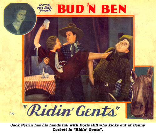 "Jack Perrin has his hands full with Doris Hill who kicks out at Benny Corbett in ""Ridin' Gents""."