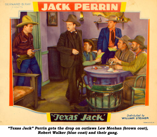"""Texas Jack"" Perrin gets the drop on outlaws Lew Meehan (brown coat), Robert Walker (blue coat) and their gang."