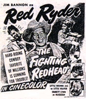 "Newspaper ad for ""The Fighting Redhead"" starring Jim Bannon as Red Ryder."