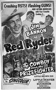 "Newspaper ad for ""Cowboy and the Prizefighter"" starring Jim Bannon as Red Ryder."