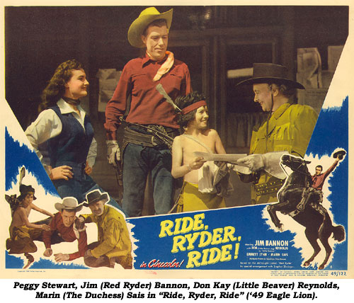"Peggy Stewart, Jim (Red Ryder) Bannon, Don Kay (Little Beaver) Reynolds, Marin (The Duchess) Sais in ""Ride, Ryder, Ride"" ('49 Eagle Lion)."