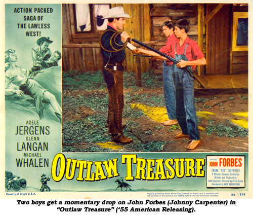 "Two boys get a momentary drop on John Forbes (Johnny Carpenter) in ""Outlaw Treasure"" ('55 American Releasing)."