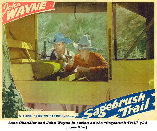 "Lane Chandler and John Wayne in action on the ""Sagebrush Trail"" ('33 Lone Star)."