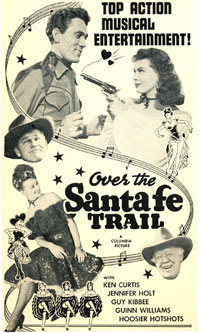 "Newspaper ad for ""Over the Santa Fe Trail""."