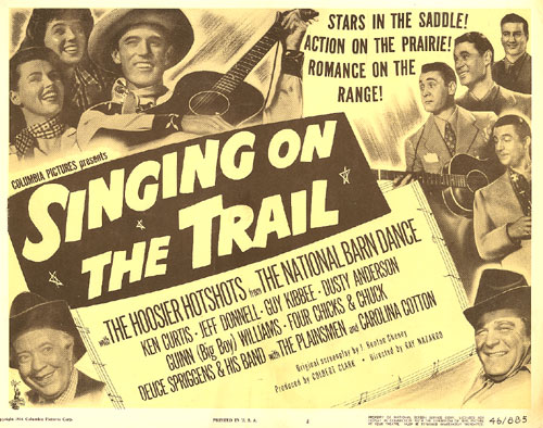 "Title card from ""Singing on the Trail"" with Ken Curtis."