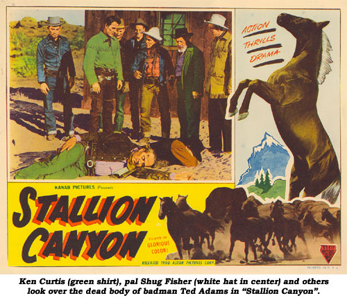 "Ken Curtis (green shirt), pal Shug Fisher (white hat in center) and others look over the dead body of badman Ted Adams in ""Stallion Canyon""."