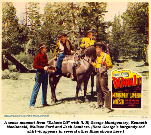 "A tense moment from ""Dakota Lil"" with (L-R) George Montgomery, Kenneth MacDonald, Wallace Ford and Jack Lambert. (Note George's burgundy-red shirt--it appears in several other films shown here.)"