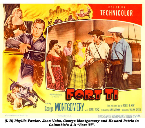 "(L-R) Phyllis Fowler, Joan Vohs, George Montgomery and Howard Petrie in Columbia's 3-D ""Fort Ti""."