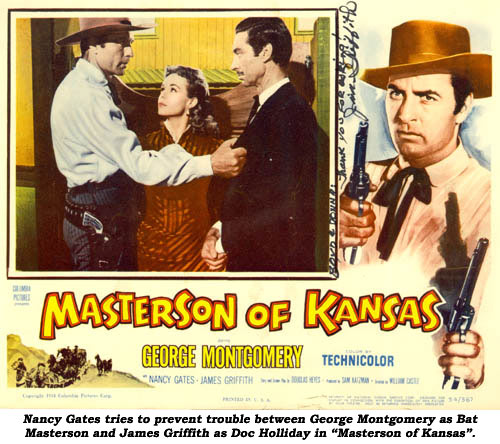 "Nancy Gates tries to prevent trouble between George Montgomery as Bat Masterson and James Griffith as Doc Holliday in ""Masterson of Kansas""."
