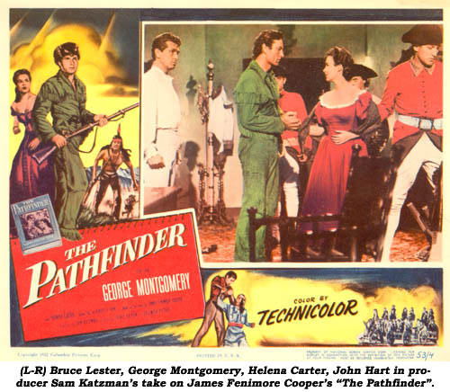 "(L-R) Bruce Lester, George Montgomery, Helena Carter, John Hart in producer Sam Katzman's take on James Fenimore Cooper's ""The Pathfinder""."